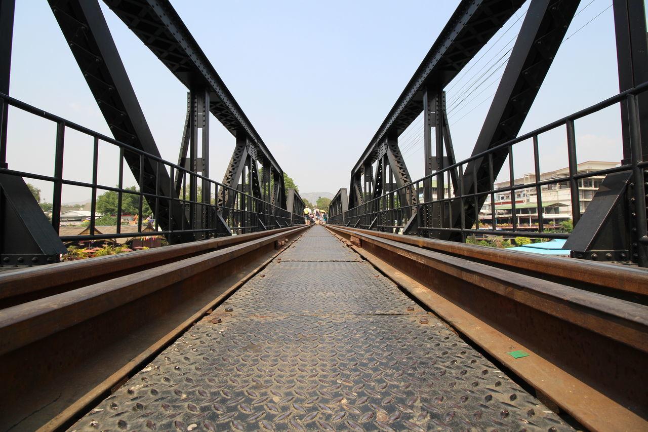 Railway Tracks Against Clear Sky