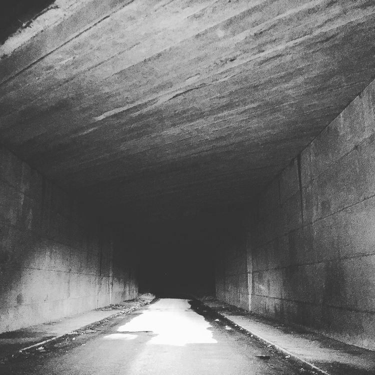 Underpass Motorway Tunnels Nightime Black & White Concrete Into The Darkness