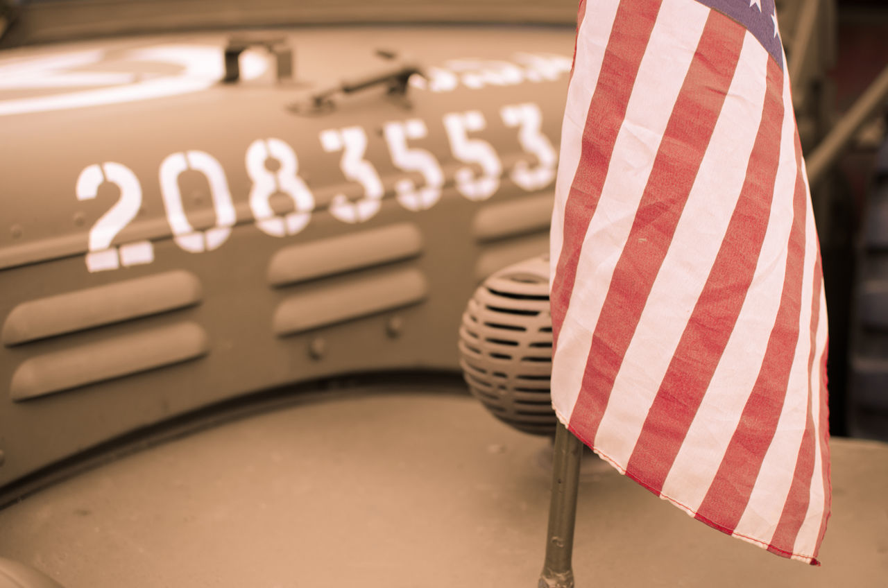 Army Army Life Car Close-up Cultures Day Flag Indoors  No People Number Old Patriotism Star Striped USA American Outdoors Vehicle Vintage