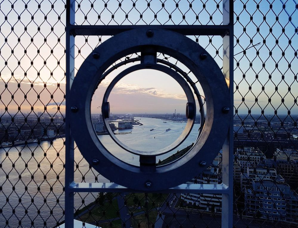 Circle Metal Security Protection Safety Day No People Outdoors Sky Close-up Water ADAMtower Adamtoren Lookout