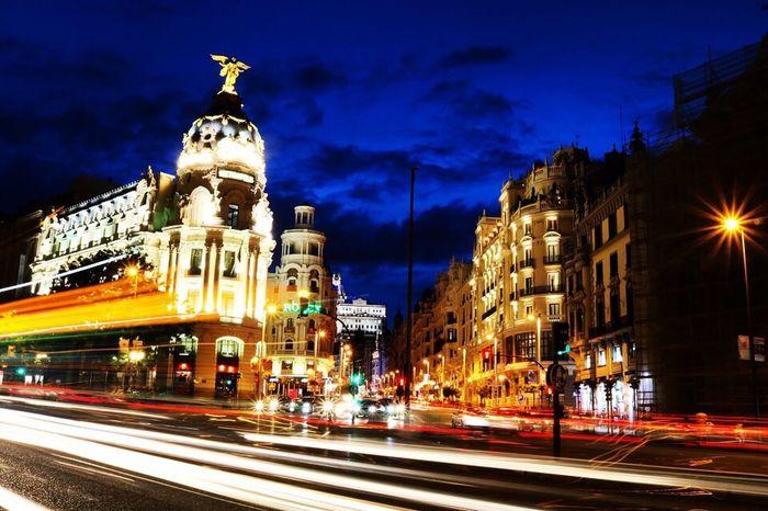 Long expure in Madrid. Long Exposure Night Madrid Callao Granvia Photography Photographer Canon Canonphotography Fotografia