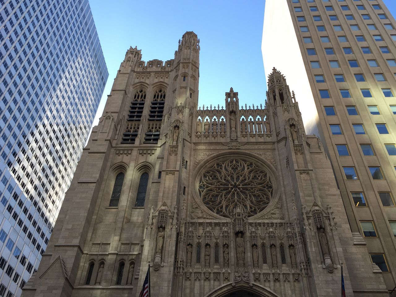 Architecture Built Structure Building Exterior Low Angle View Religion Place Of Worship Travel Destinations Spirituality History Day Façade No People Sky Outdoors Skyscraper City Clear Sky St Thomas Church NYC ILoveMyCity