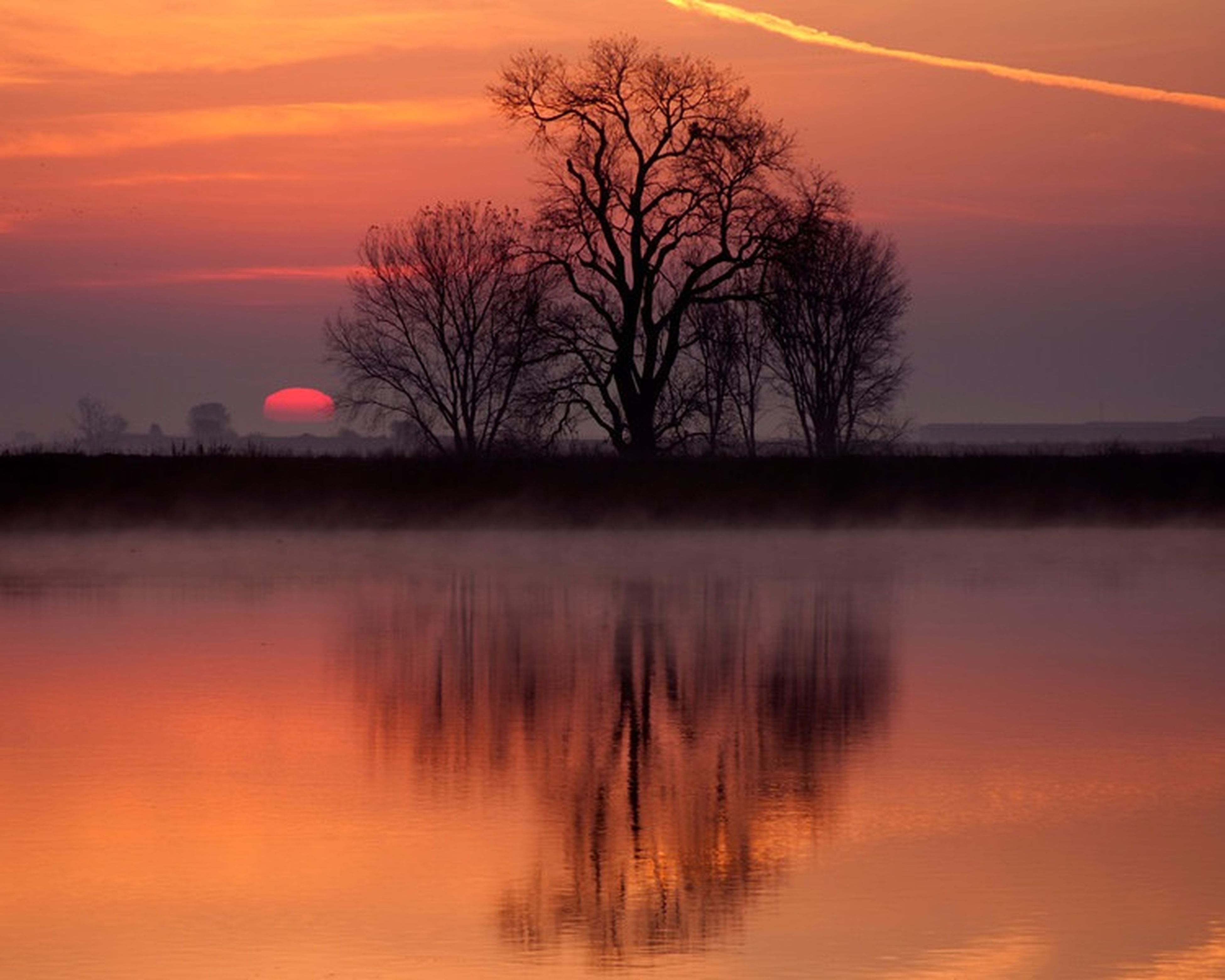 sunset, tranquil scene, tranquility, scenics, bare tree, orange color, silhouette, sky, beauty in nature, water, reflection, idyllic, tree, nature, lake, sun, cloud - sky, waterfront, dramatic sky, landscape