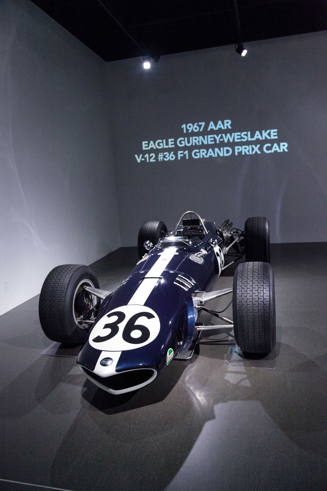 Los Angeles, CA, USA - March 4, 2017: Blue and white 1967 AAR Eagle Gurney-Weslake V-12 Grand Prix car from the Collier collection at the Petersen Automotive Museum in Los Angeles, California, United States. Editorial only. 1967 AAR EAGLE Antique Classic Car Day Eagle Grand Prix  Gurney-Weslake Indoors  No People Old Car Petersen Automotive Museum Race Car Racer Technology V-12