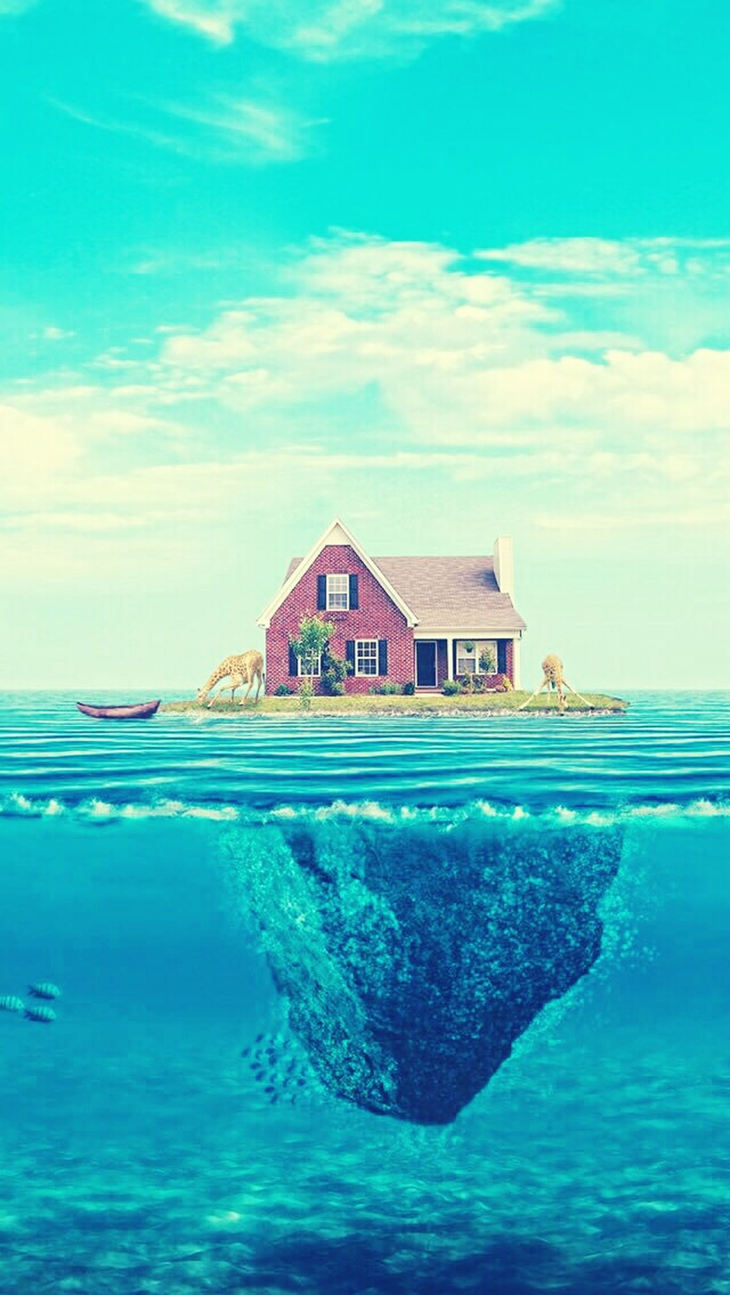 water, sea, building exterior, blue, architecture, built structure, waterfront, sky, house, turquoise colored, horizon over water, nature, cloud, beauty in nature, cloud - sky, day, outdoors, tranquil scene, scenics, no people