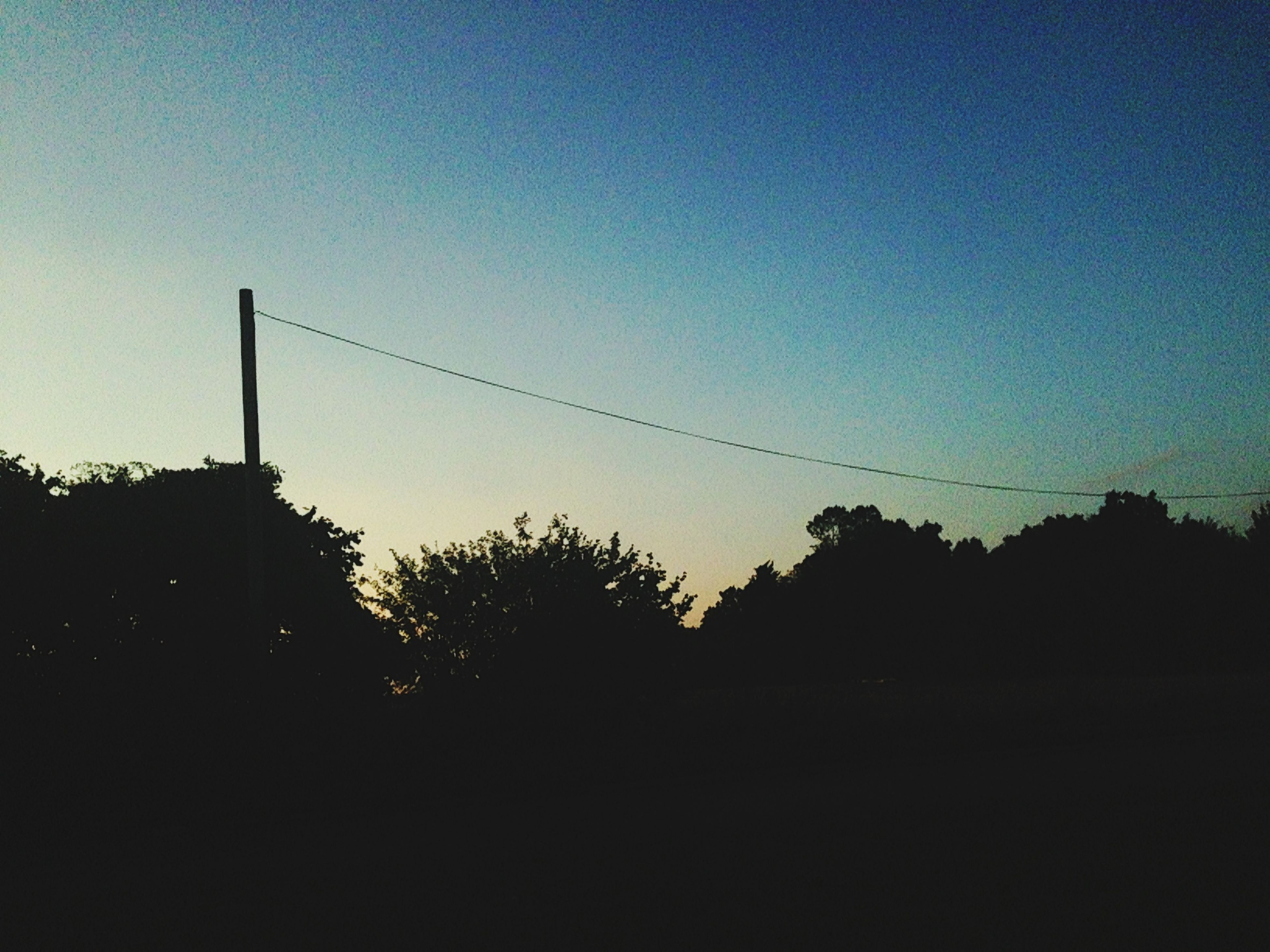 silhouette, copy space, clear sky, sunset, tree, tranquility, low angle view, dusk, tranquil scene, nature, beauty in nature, sky, dark, scenics, blue, outline, outdoors, landscape, no people, power line
