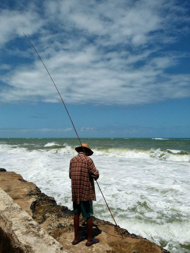 People Of The Oceans Manakara Madagascar  Fisherman Fishing Pole Stick People Man Ocean Waves Travel Landscapes Water Traveling Coast