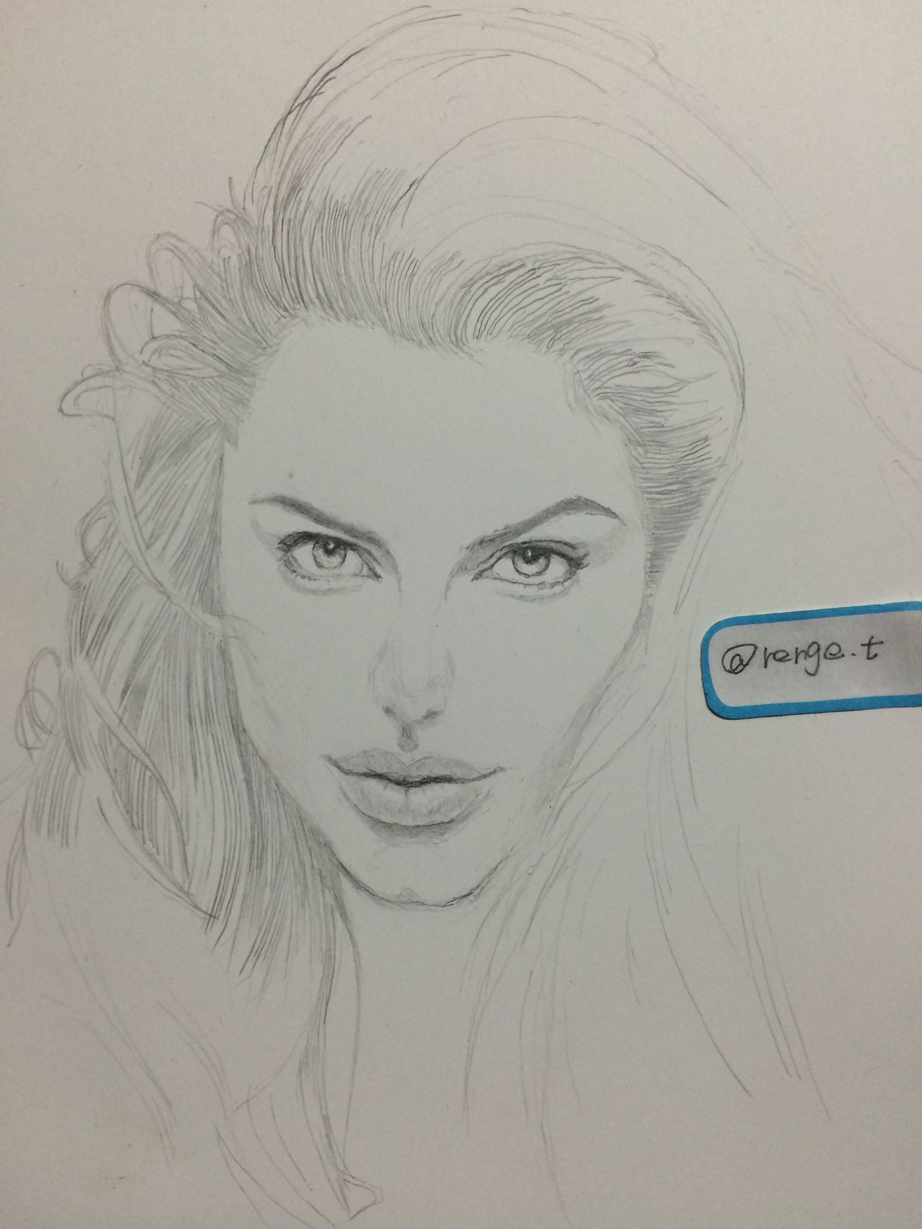 Drawing ArtWork Hello World Art, Drawing, Creativity MyDrawing Angelina Jolie アンジェリーナジョリー アンジー