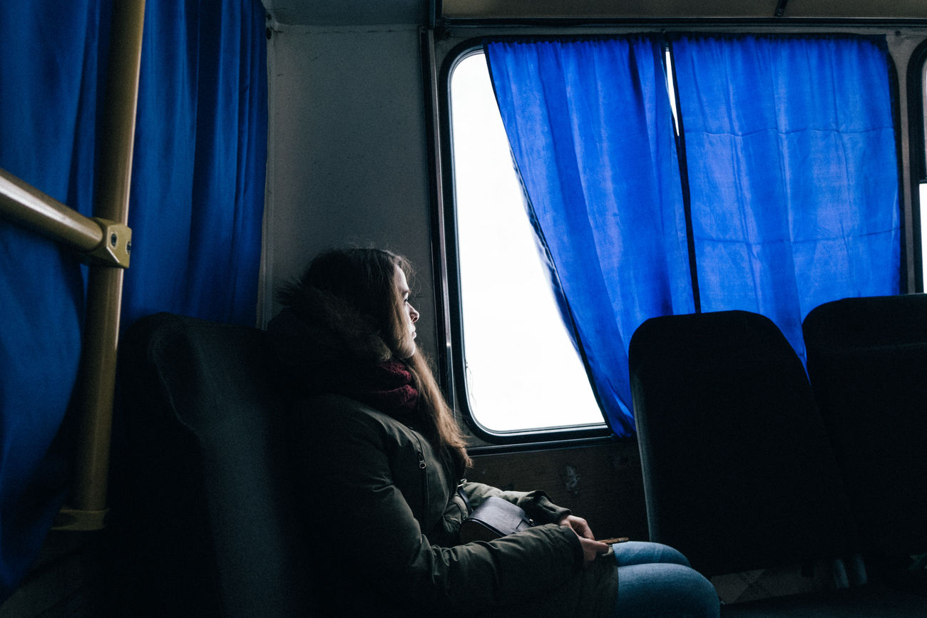 City One Person People Real People Rural Scene RX10II RX10M2 Sitting Snow Sony Streetphotography Transportation Vehicle Interior Window Winter Women