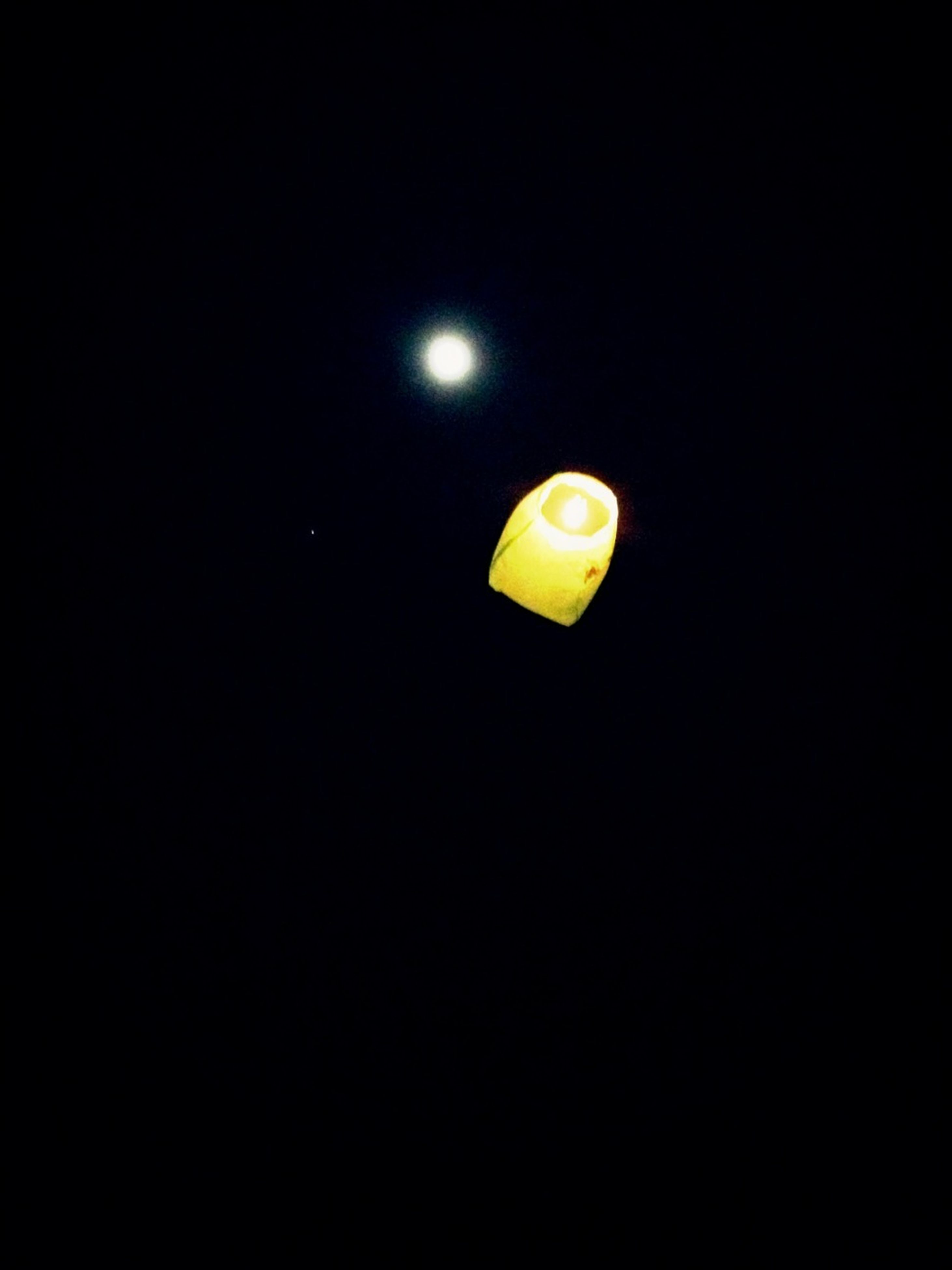 night, copy space, yellow, illuminated, low angle view, moon, lighting equipment, clear sky, street light, sky, no people, full moon, mid-air, glowing, light - natural phenomenon, flying, outdoors, dark, electric light, nature