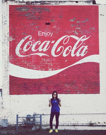 My fave liquid beverage... Outdoors Standing Young Women People Korean Peace Smile Coke Wallart