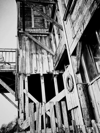 Weathered...but still standing...old but still alive Architecture Old Built Structure Wood - Material Low Angle View No People Old-fashioned Outdoors Day Girder Building Exterior Sky