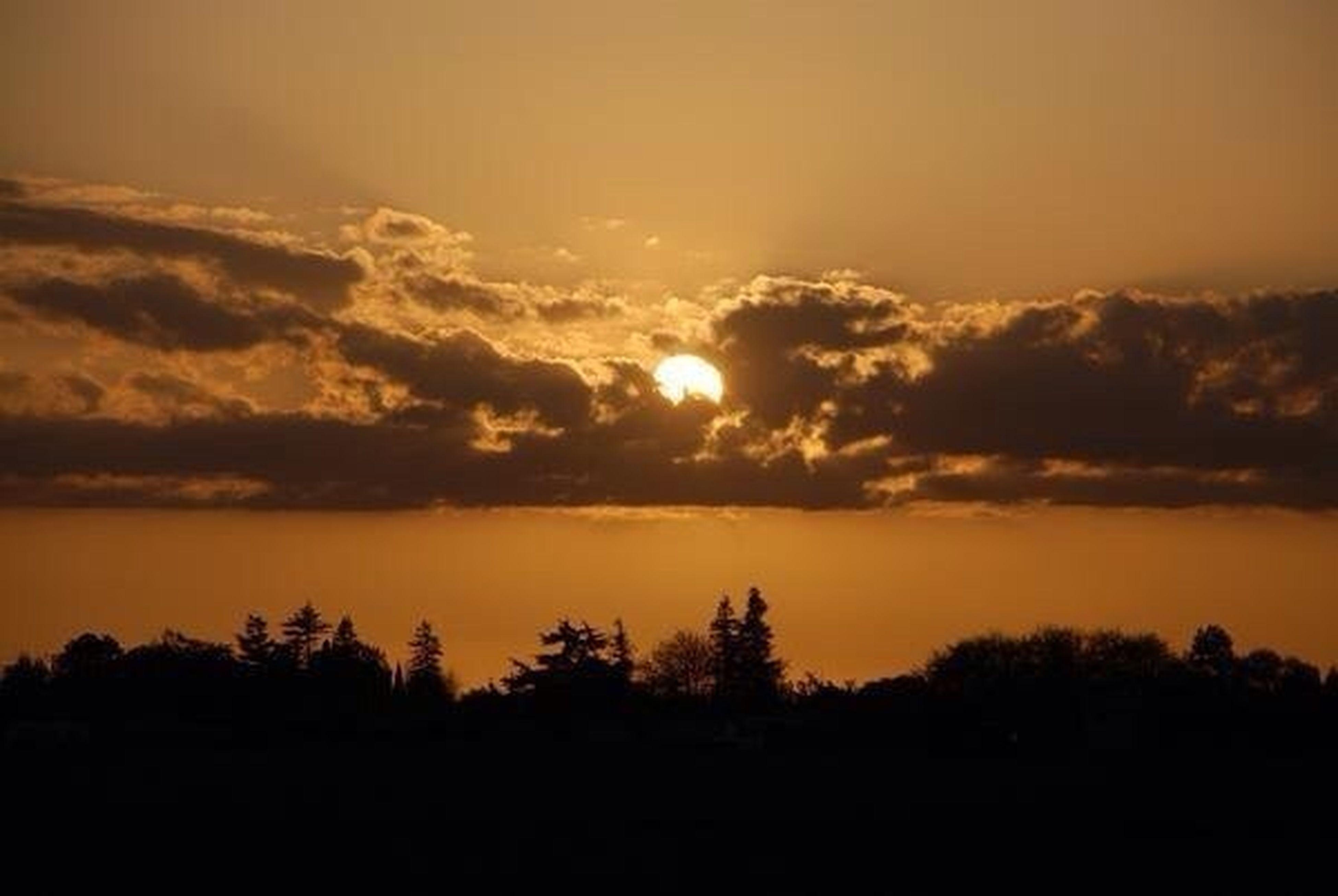 sunset, scenics, silhouette, tranquil scene, beauty in nature, orange color, tranquility, sky, idyllic, nature, sun, cloud - sky, dramatic sky, landscape, majestic, tree, cloud, outdoors, no people, moody sky