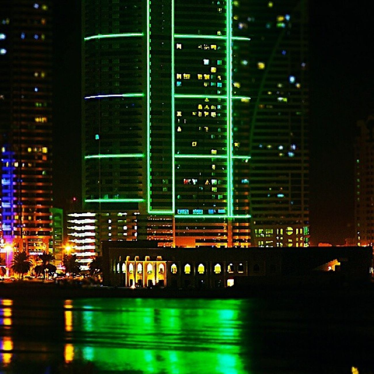 Nightvibes Lights Shadow Emerald 30x building neon Corniche almajaz buhairah From my window part 1:D