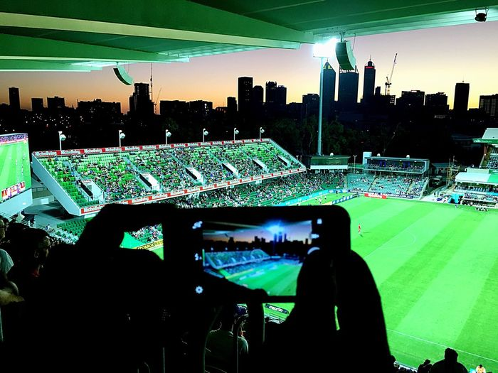 Mobile Conversations Australia Outdoors Hello World Stadium Perth Perth Glory IPhone Soccer Football Technology Technology I Can't Live Without Perth Hello EyeEm Gallery Leisure Activity Sport Grass Fitness Cityscape Skyline Sunset EyeEm Abstract City Welcome To Black The Secret Spaces BYOPaper!