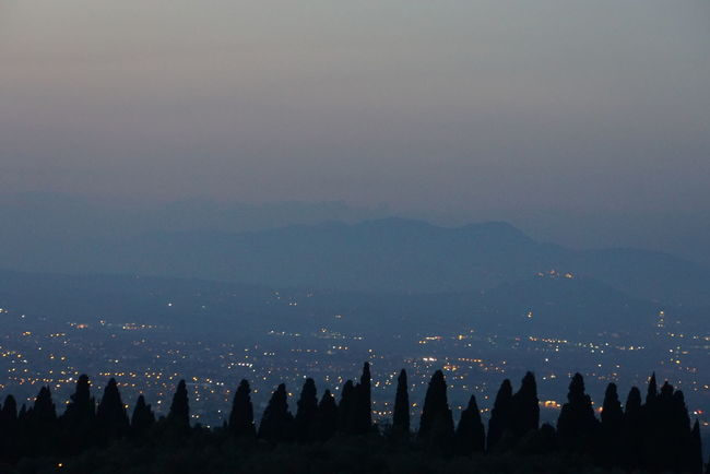 view over city of Rome Beauty In Nature Calm Cloud Cloud - Sky Foggy Golden Hour Haze In Front Of Mountain Mountain Range Nature Night Lights No People Outdoors Outline Rome Scenics Sky Tivoli Tranquil Scene Tranquility Trees