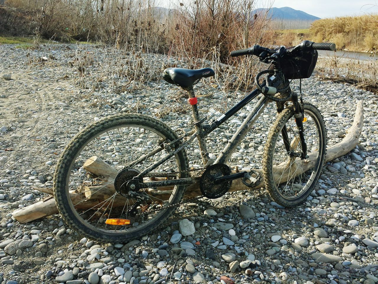 bicycle, transportation, mode of transport, land vehicle, stationary, day, outdoors, no people, wheel, mountain bike, bicycle rack, nature, tire
