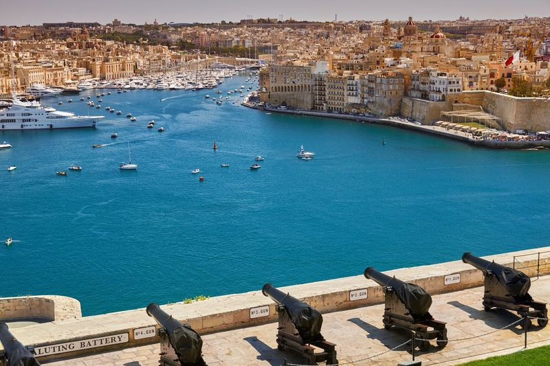 Grand Harbour and the Three Cities, Malta Malta Grand Harbour Harbour Bay Mediterranean  Sea Water Turquoise Cannon Fortress Urban City Boats Yacht No People Landmark Travel Destinations High Angle View Nautical Vessel Ships Architecture Urban Skyline Landscape Cityscape Marina