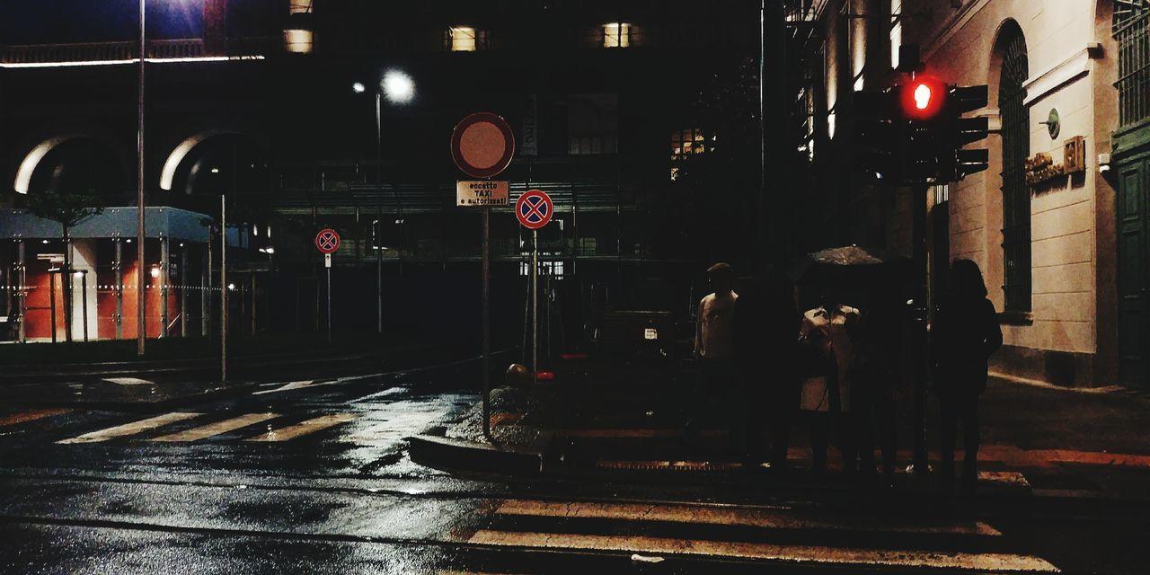 Pedestrian Night Illuminated City Outdoors Zebra Crossing