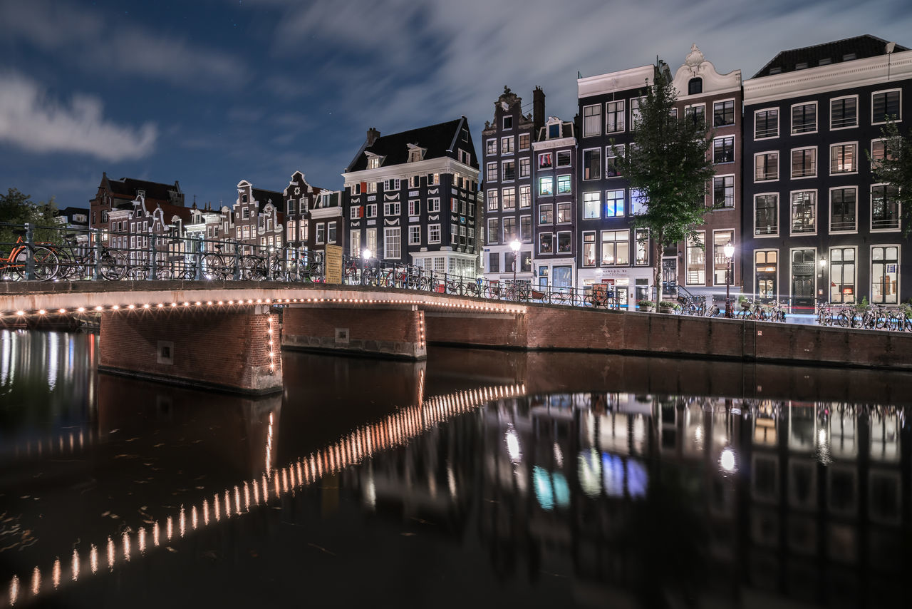 Diversions Amsterdam Architecture Authentic Bridge Canal Canal Houses Capital Cities  Dutch Full Frame Holland Houses Illuminated Long Exposure Nederland Netherlands Night Lights Nightphotography Reflection Reflection_collection Singel Slow Shutter Traditional UNESCO World Heritage Site Urban Water