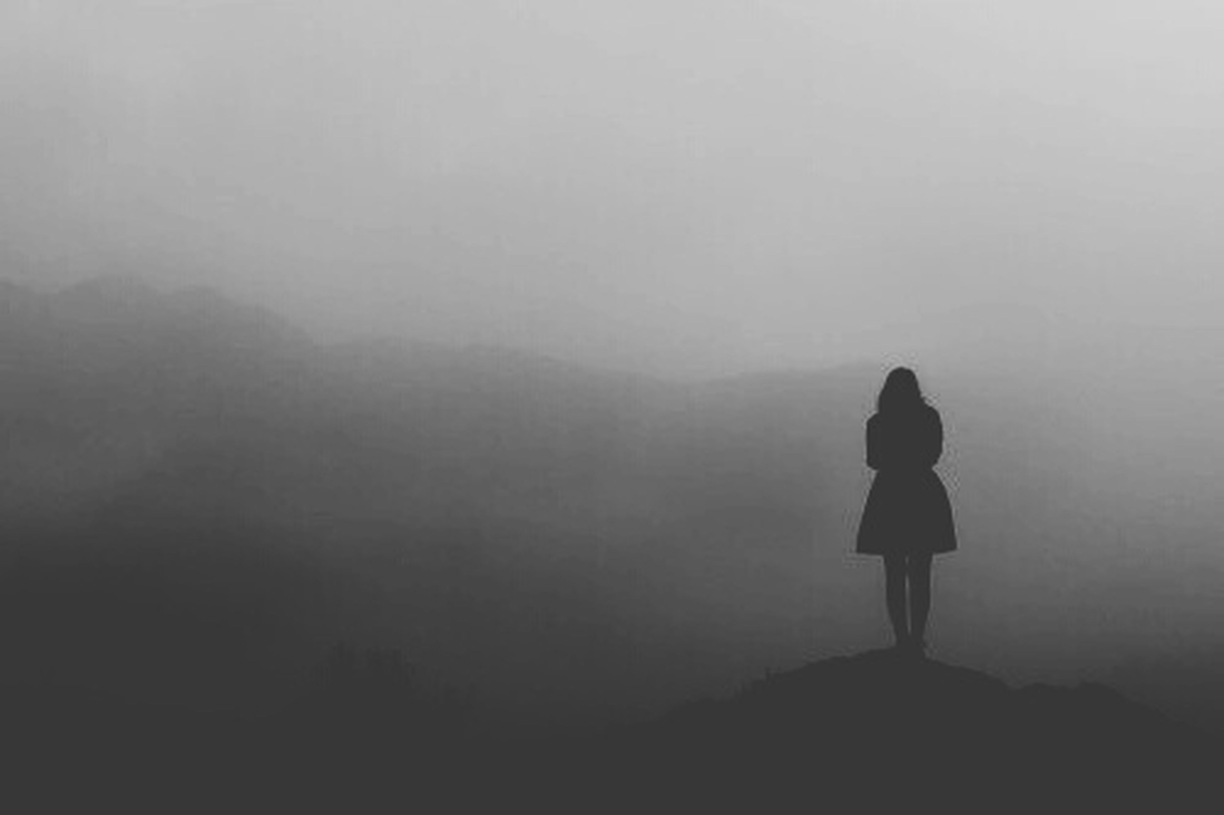 fog, foggy, silhouette, rear view, standing, copy space, tranquility, full length, weather, tranquil scene, lifestyles, men, nature, leisure activity, scenics, beauty in nature, landscape, solitude