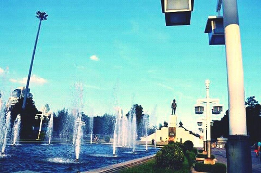 Bangkok Tailand Lumpini Park Fountain Sunny Day