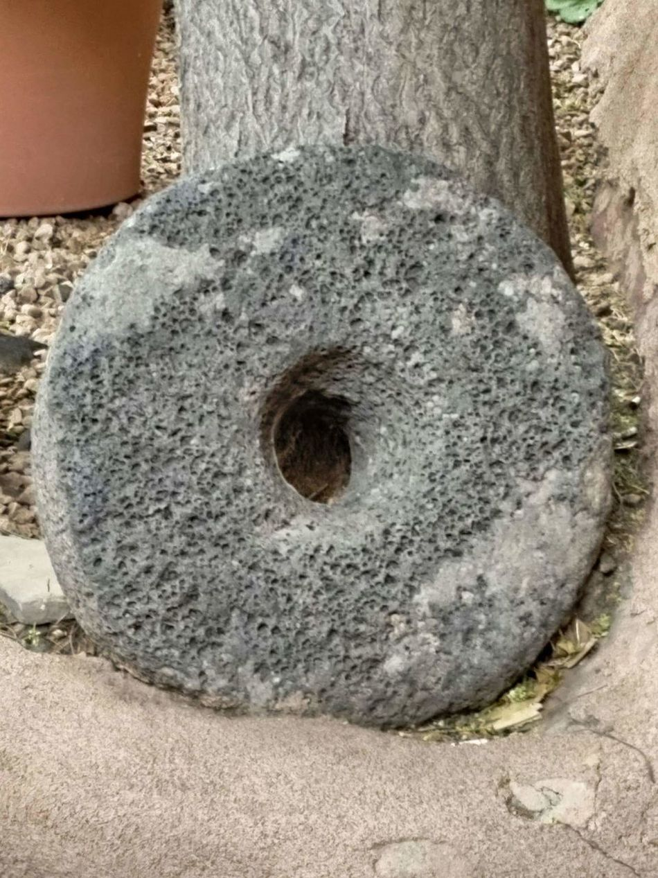 Antique Lava Rock Grinding Wheel Lava Rock Antique Frontier Life Historic Plazuela New Mexico Albuquerque Old Town Grinding Wheel Close-up Textured  No People Tranquility Grey Weathered Growing