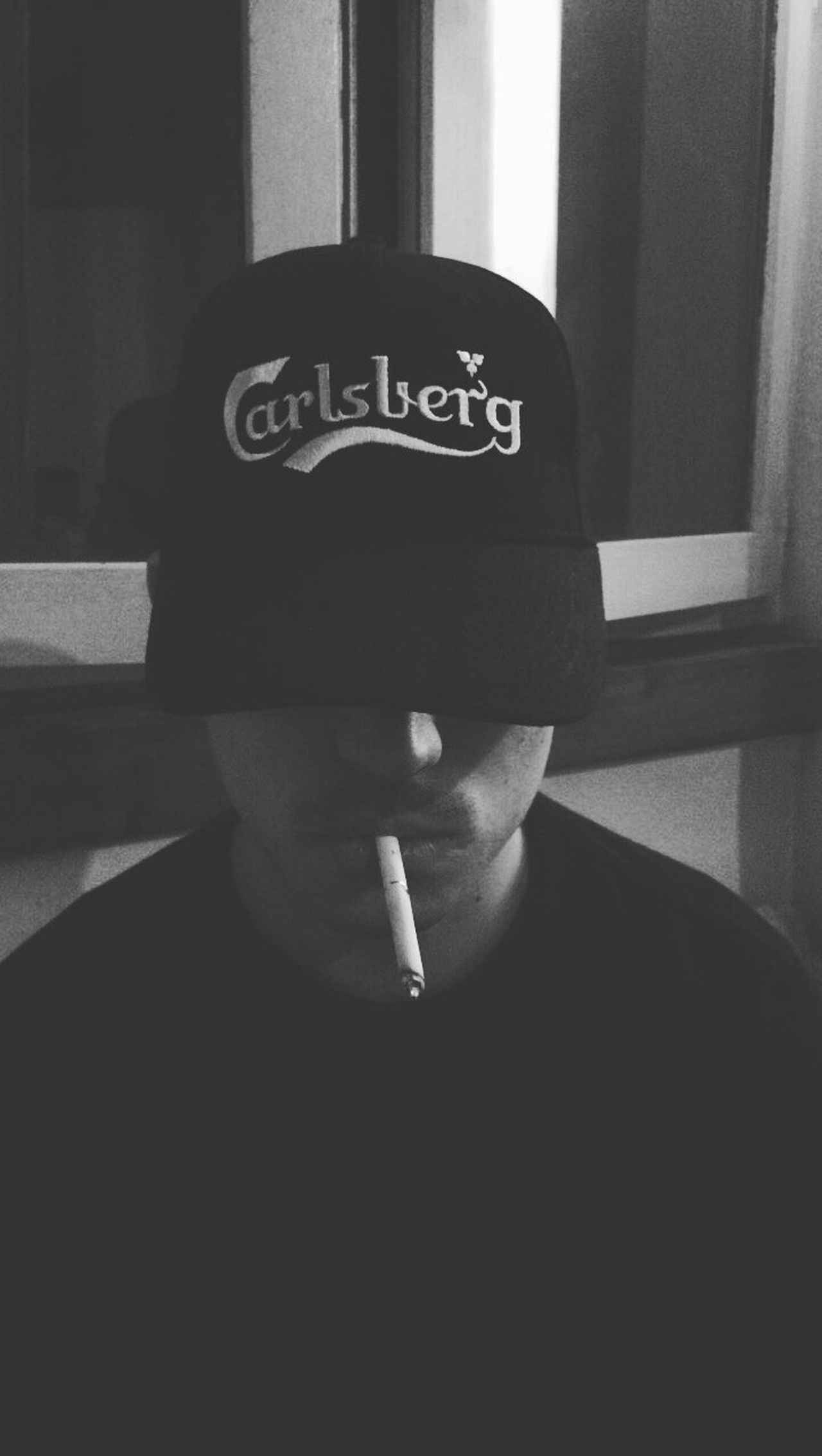 Selfie | One Person Sunlight Real People Indoors  Human Hand Day Close-up Human Body Part Cowboy Hat People Adult Myself Carlsberg Smoking Drink