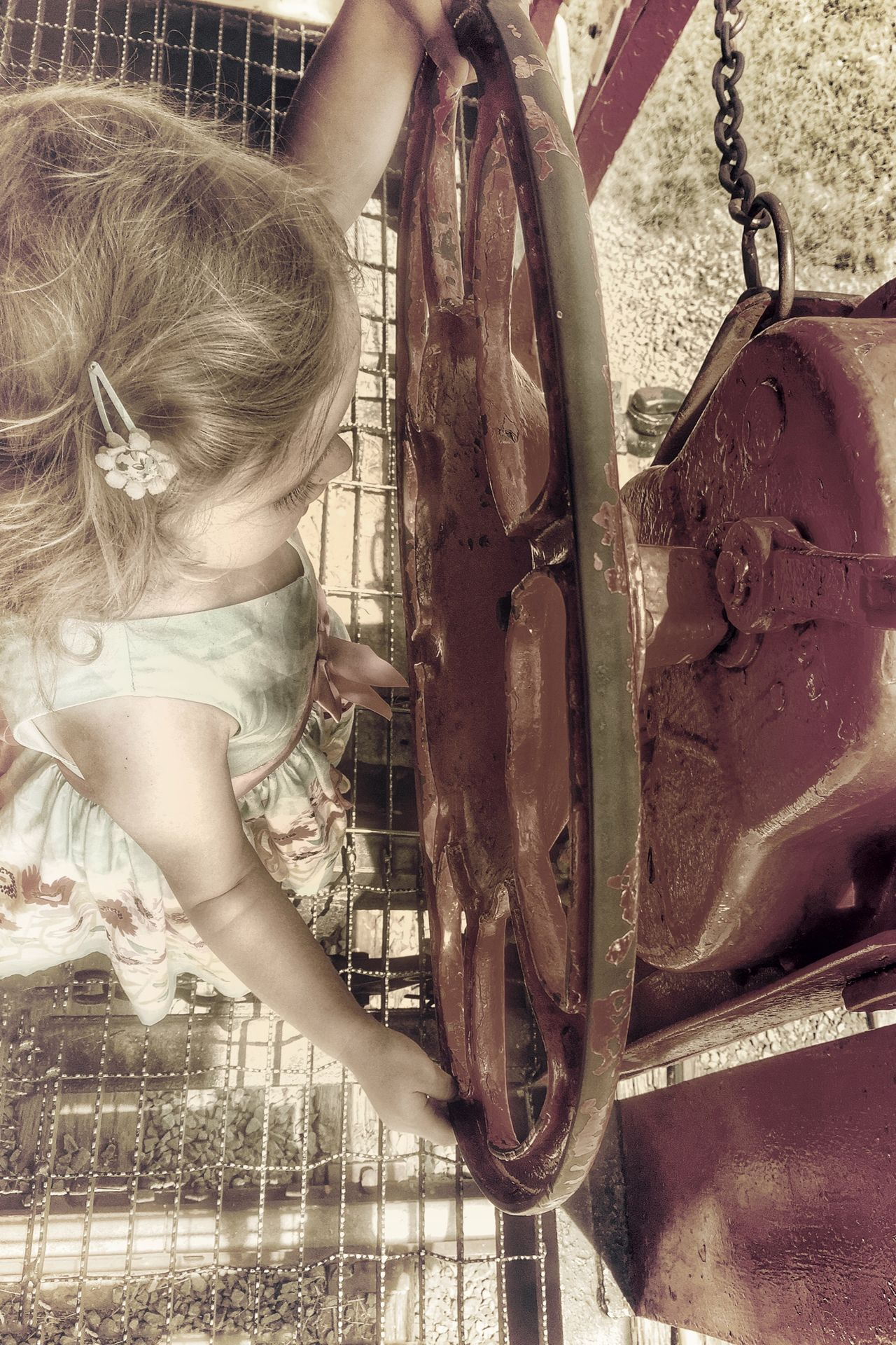 Little driver applies the train brakes Train Caboose Brakes Being A Kid The Portraitist - 2015 EyeEm Awards Girl Kids Being Kids People Peoplephotography Open Edit For Everyone