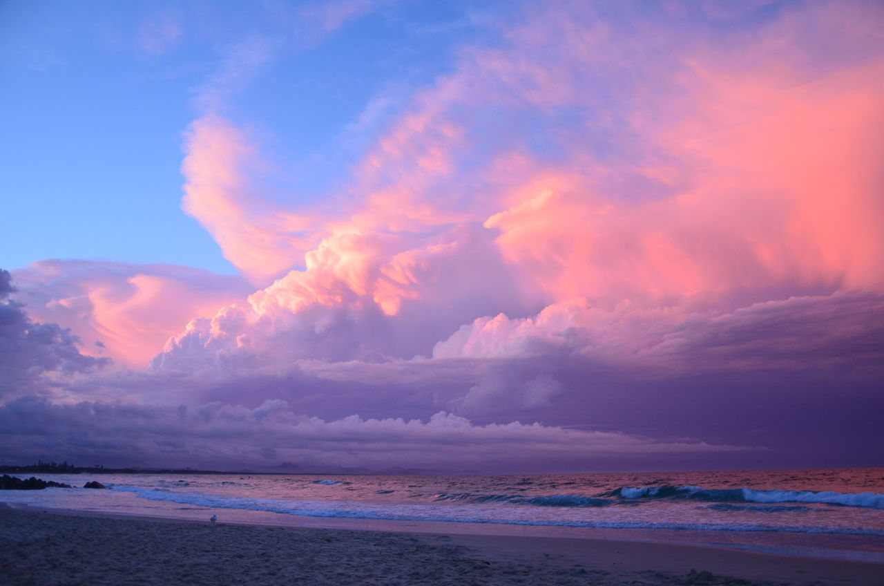 Beach Beauty In Nature Blue Byron Bay Cloud - Sky Clouds Clouds And Sky Clouds And Sunset  Clouds By Jj Dramatic Sky Horizon Over Water Nature No People Outdoors Sand Scenics Sea Sky Summer Sunset Tranquil Scene Travel Destinations Vacations Water