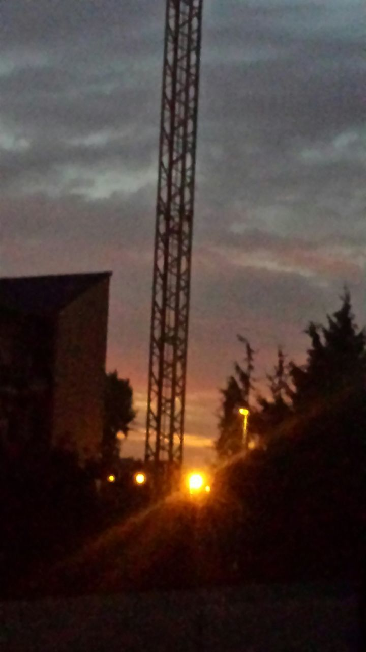 sky, dusk, no people, tree, sunset, outdoors, illuminated, built structure, architecture, night, nature