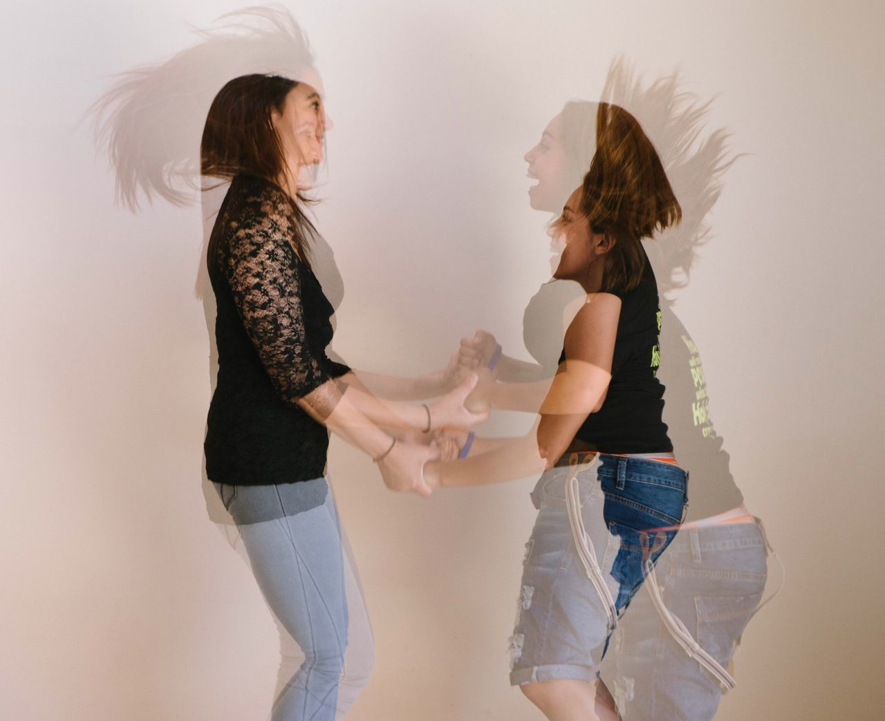 Two Is Better Than One Two Multiple Exposures Done In Camera Jumping Friendship Happy Dancing