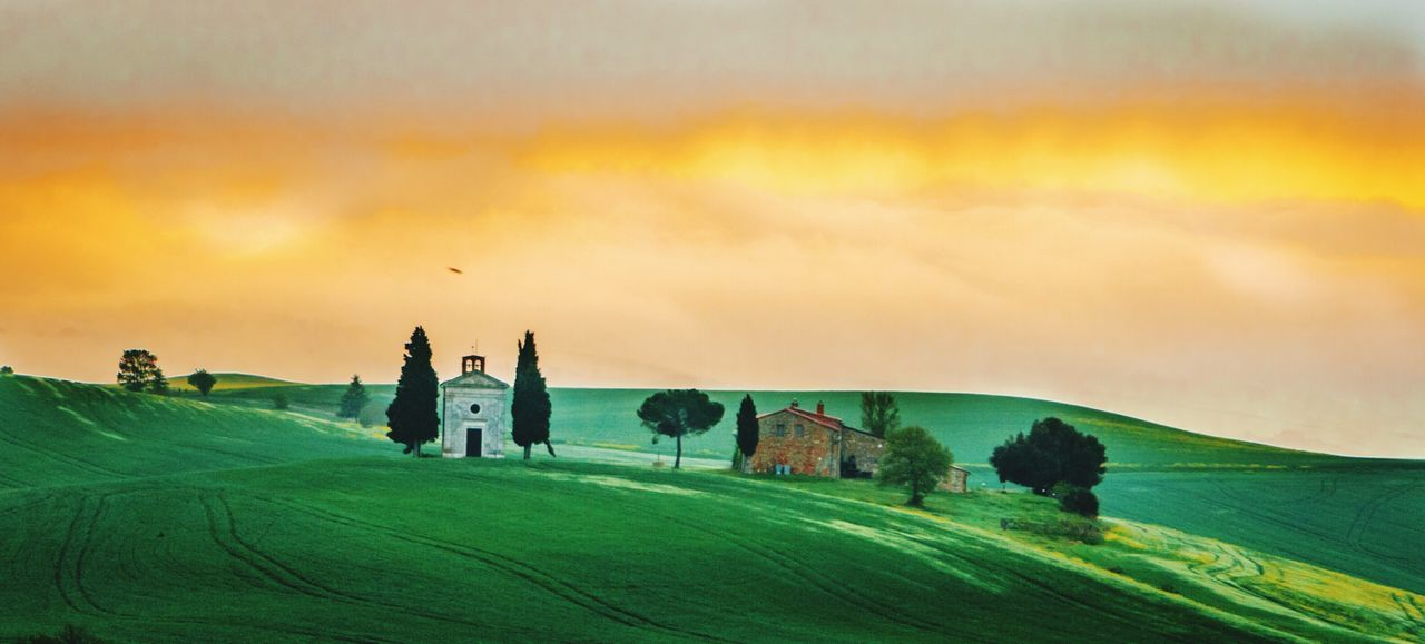La Vitaleta Sunrise tuscany Chapelle Church colour Sky green fields trees Cypress Trees