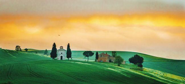La Vitaleta Sunrise tuscany Chapelle Church colour Sky green fields trees Cypress Trees