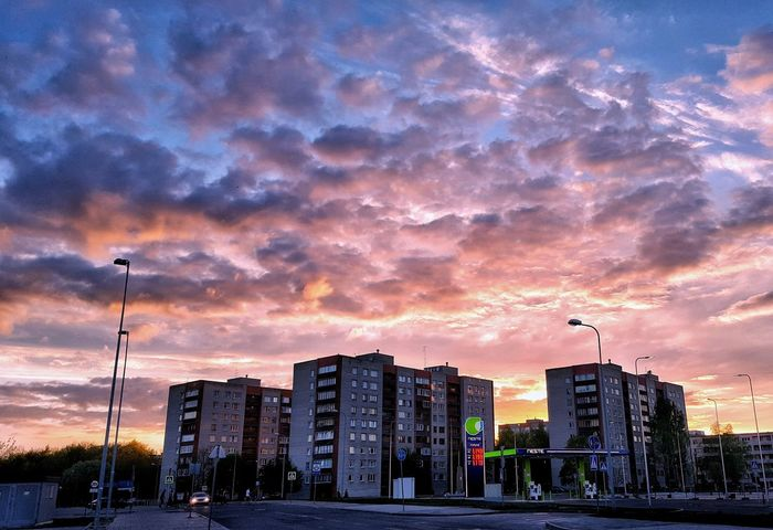 Sunset Sky Cloud - Sky Night Outdoors No People City Nature Urban Skyline Architecture Cityscape Nature Eesti Beauty Rosesky Estonia Red City Balance Building Architecture Nature Photography Abstract Graffiti Art