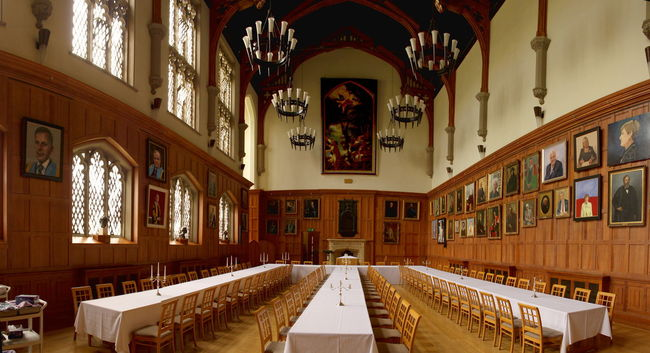 Architecture Great Hall Long Table Paintings Queens University