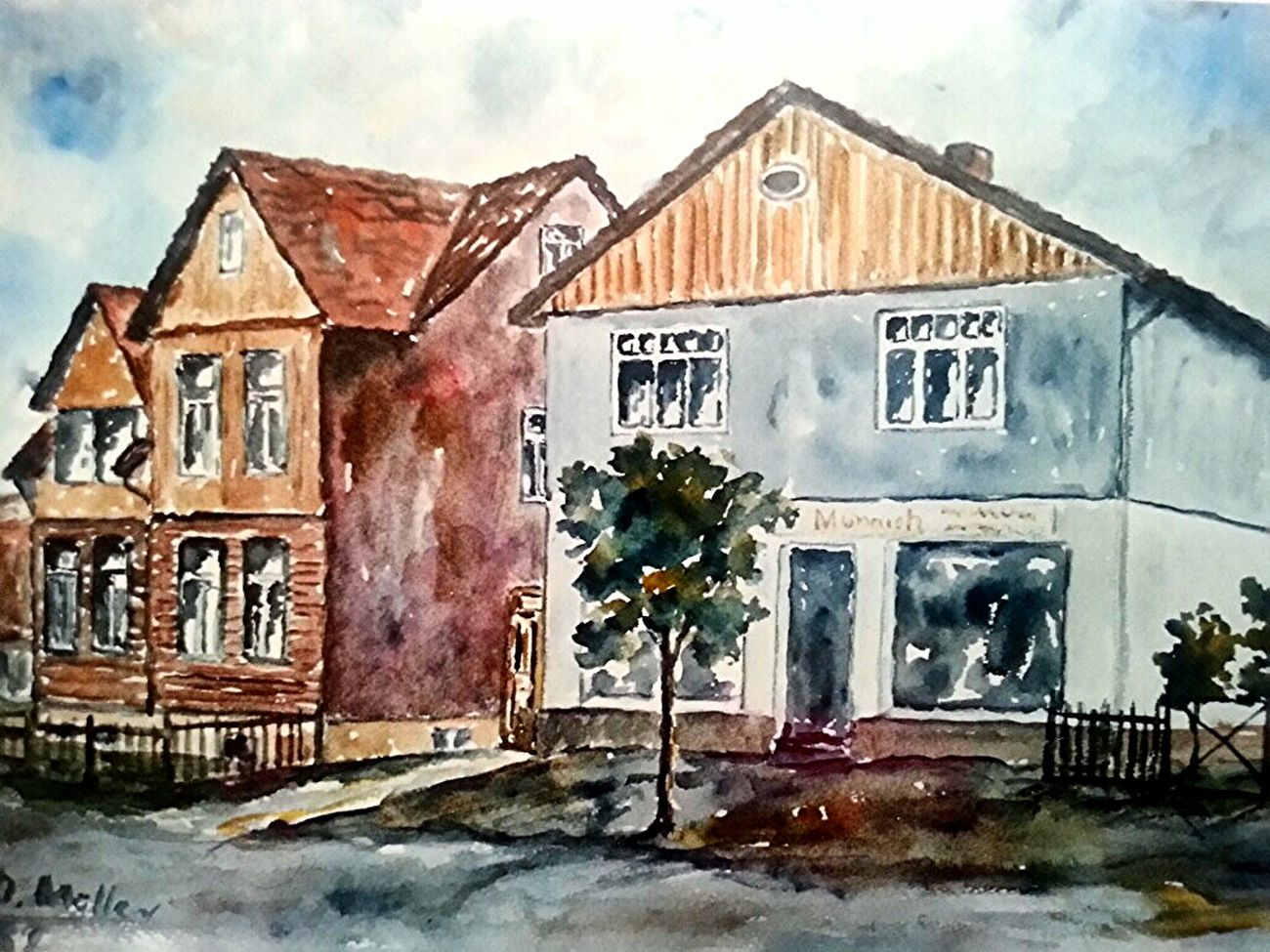 Mein Atelier Studio in Herrhausen . Aquarell 36 × 48 cm 1982 . Art Painting Architecture Hello World