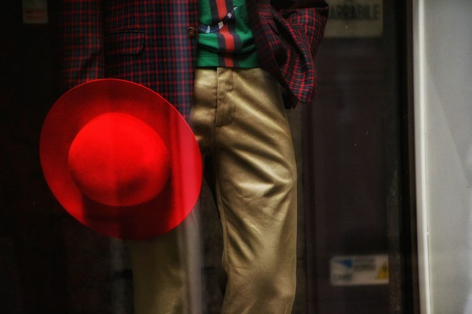 Indoors  Men Close-up Casual Clothing The Color Of Business Shopping Time Shop Window Fashion Fashion Photography Moda Vetrine Shopping Hat Red Dress