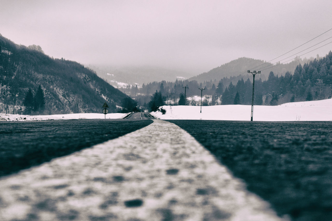 Paths Beauty In Nature Day Mountain Nature Outdoors Paths Road Road Sky The Way Forward Tree Winter Winter Wunderlust