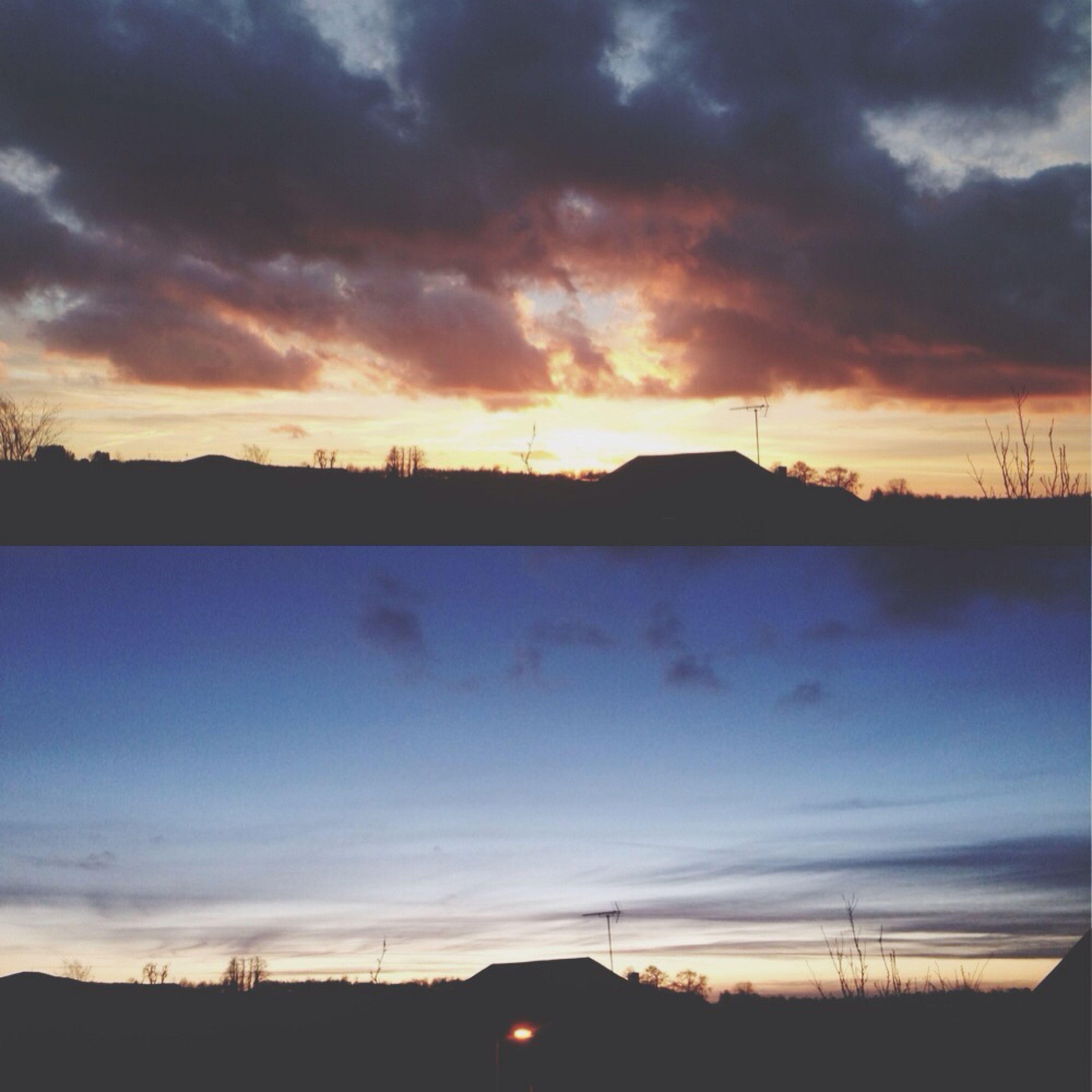 sunset, silhouette, sky, scenics, tranquil scene, cloud - sky, beauty in nature, tranquility, orange color, landscape, dramatic sky, nature, cloud, idyllic, cloudy, moody sky, field, electricity pylon, dark, atmospheric mood