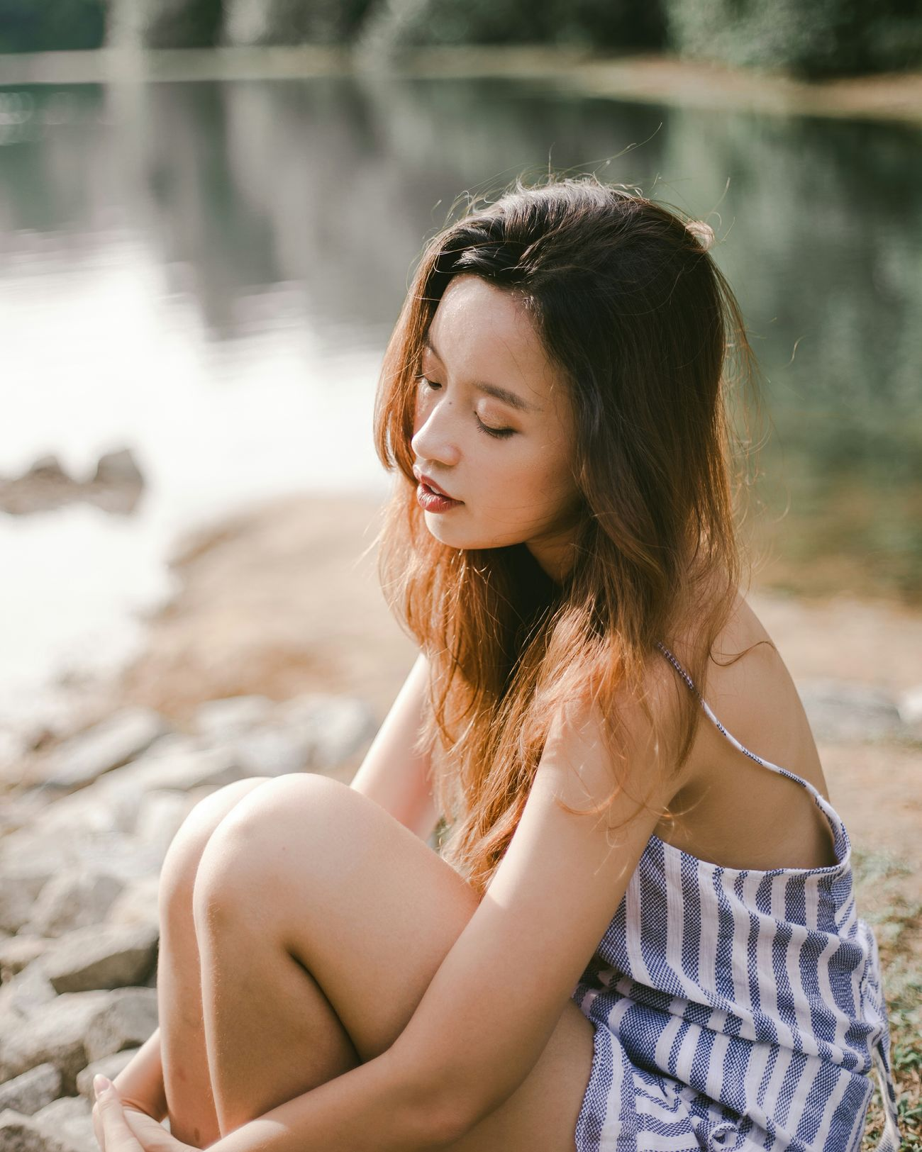 leave it to the breeze Sunlight Outdoors Beautiful People Women Of EyeEm Portrait Of A Woman Portrait Of A Girl Portrait Photography Portraits Of EyeEm Water Summer Beauty Relaxation Nature Nature_collection