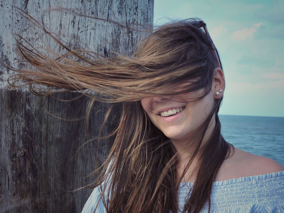 Young Women Long Hair Portrait One Person Smiling Real People Headshot Young Adult Beautiful Woman Happiness Close-up Outdoors Day Ocean Girl Blowing Wind Windy Hair EyeEm Best Shots Water Leisure Activity Lifestyle Freedom Natural