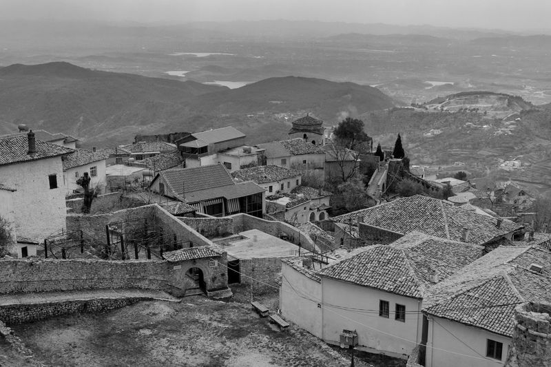 Albania Architecture Blackandwhite Building Exterior Building Terrace Built Structure Day High Angle View House Mountain Nature No People Outdoors Roof Sky Town