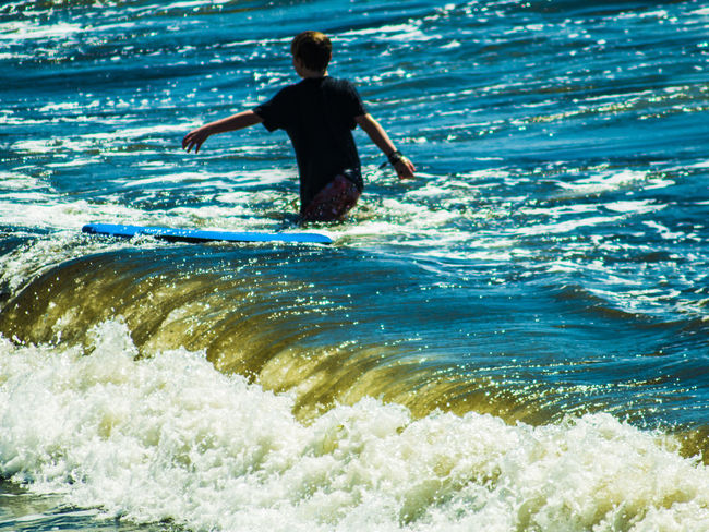 Adventure Boys Child Childhood Day First Eyeem Photo Full Length Happy Leisure Activity Lifestyles Motion Nature One Person Outdoors People Real People Sea Sky Vacations Water Wave