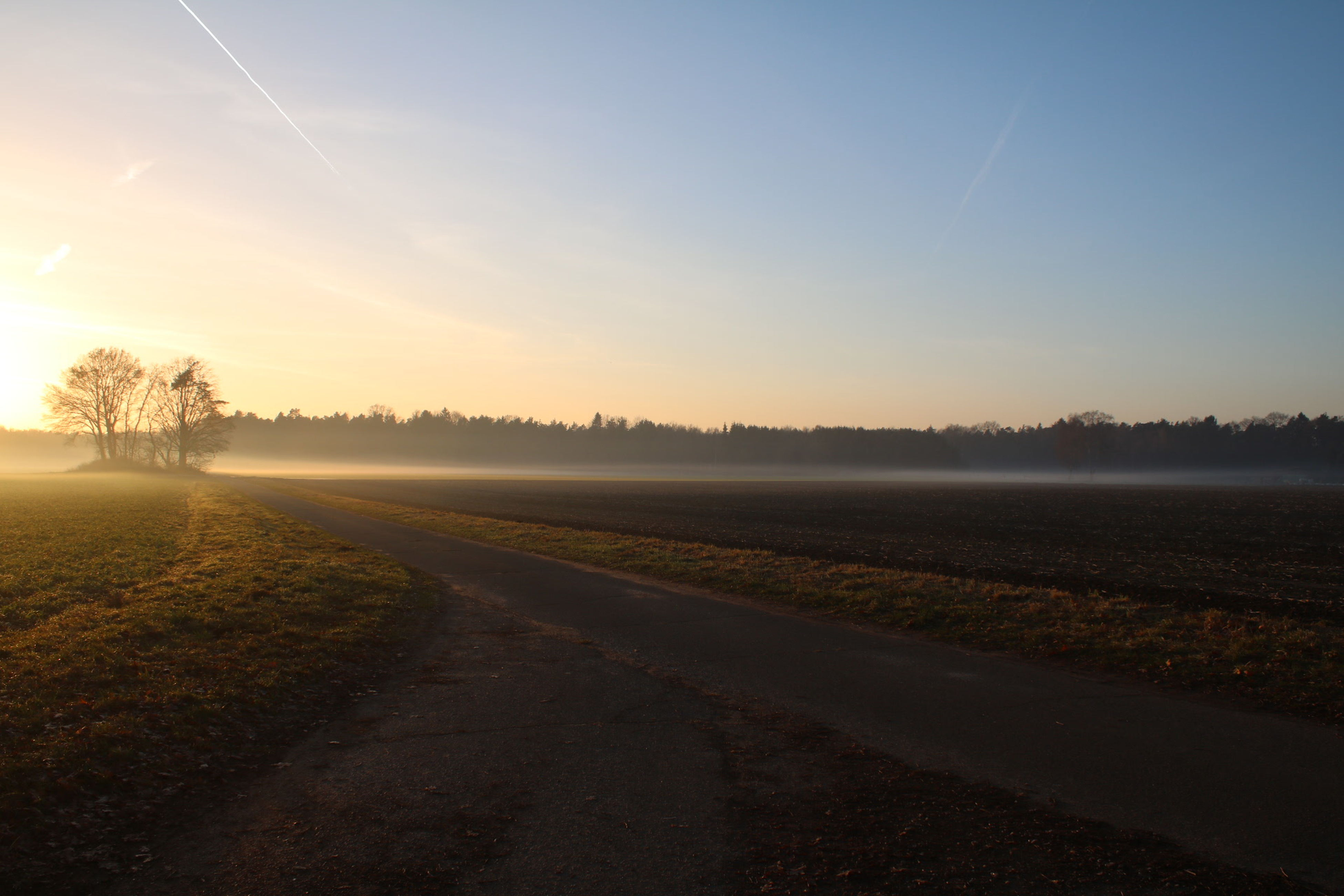 sunset, road, sky, nature, fog, scenics, outdoors, no people, beauty in nature, day