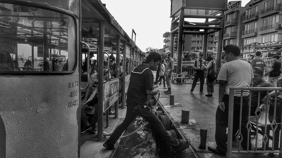 City Real People People Outdoors Men Day Streetphoto_bw Streetphotography_bw Streetphotography Monochrome Working Black And White Photography Pier Crossing The River River Naval Transportation Bangkok Thailand Thaprachan Thaprajan Chaopraya River Chaopraya River, Welcome To Black