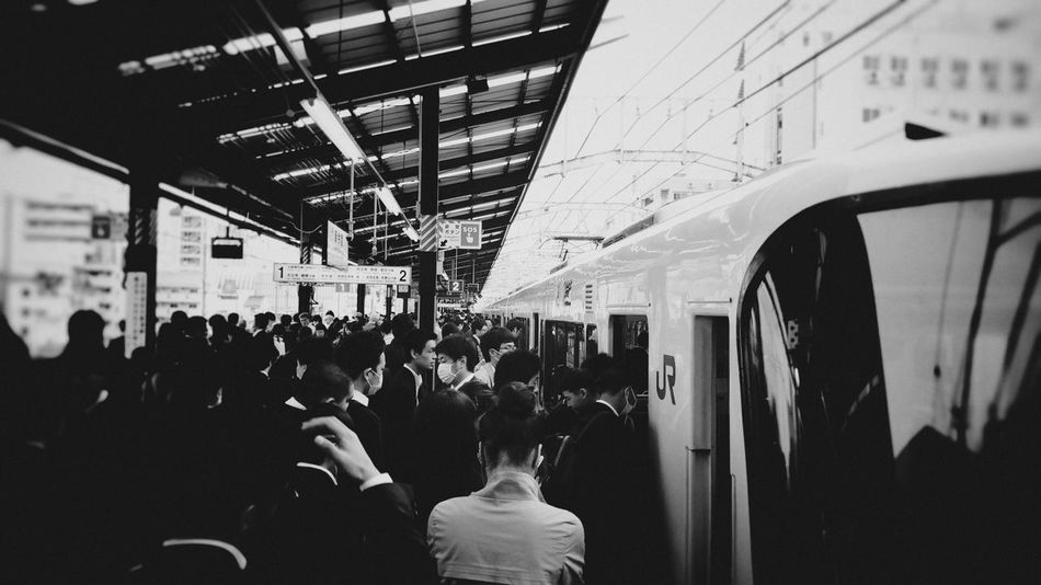 Rush hour Shinosaka City Life City Street Crowd Group Of People Japan Photography JR Line Large Group Of People Lifestyles Mixed Age Range Modern Peak Hour Rush Hour Train Station Travel Destinations Pinhole Photography Blackandwhite Photography The Photojournalist - 2016 EyeEm Awards My Commute Ultimate Japan On The Way Traveling Home For The Holidays