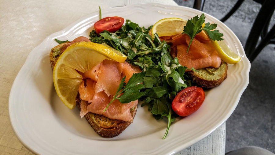 Gelateria Castelletto, Vienna Smoked Salmon  Bread Close-up Day Food Food And Drink Freshness Healthy Eating High Angle View Indoors  Indulgence No People Plate Ready-to-eat Serving Size SLICE Table Tomato