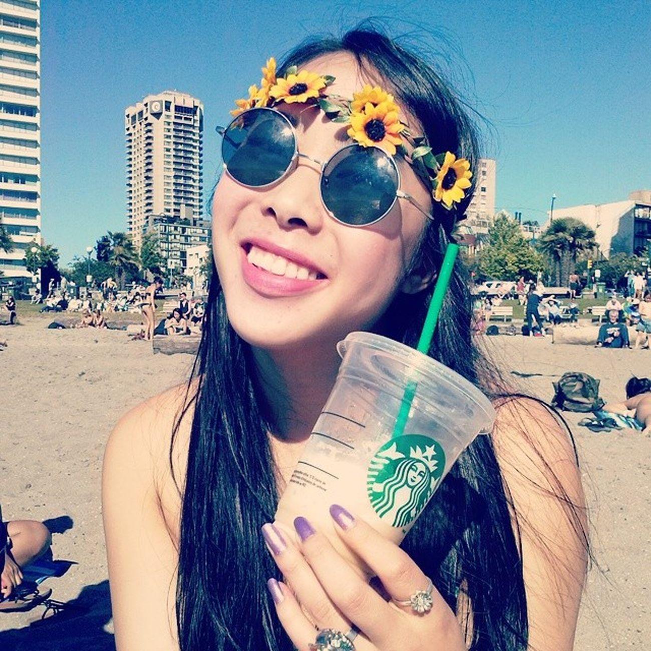 Starbucks Butterbeer Frap Beach summer englishbay flowercrown hipster
