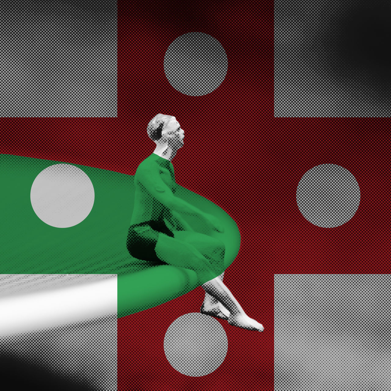 alienation Abstract Alienation ArtWork Close-up Creativity Cross Day Design Digital Art Dot Edge Figure Green Color Grid Pattern Hole Indoors  Multi Colored Raster Red Color Round Screen Sitting Man Square Table Textured